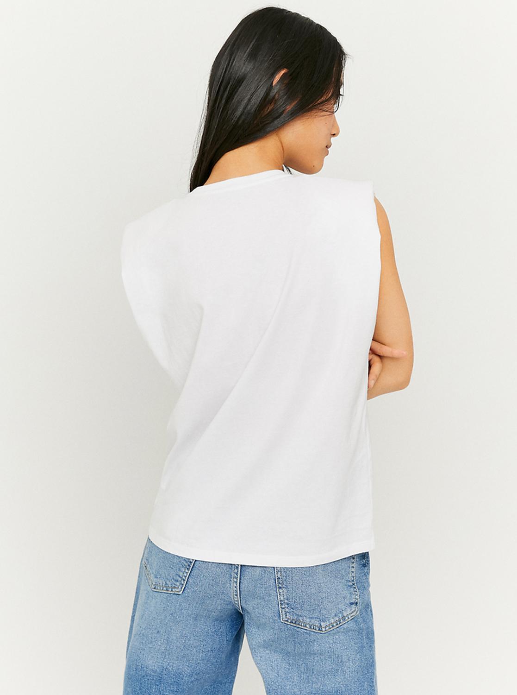 Tally Weijl bela top s potiskom z blazinicami na ramenih