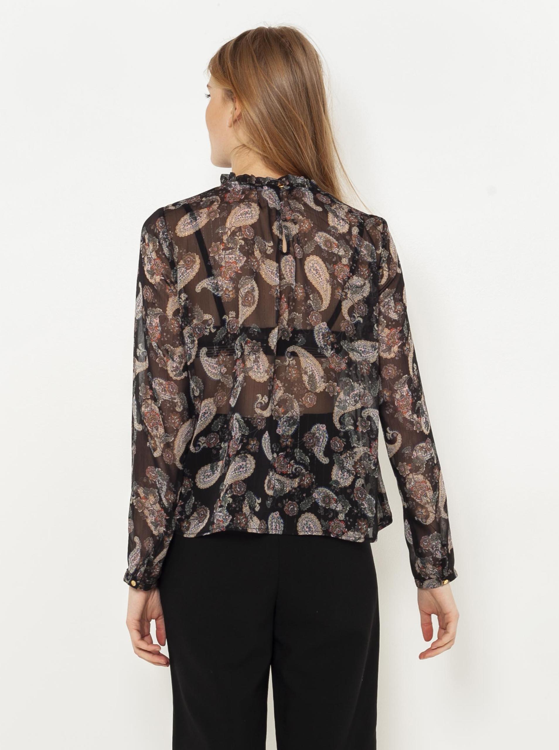 CAMAIEU črna bluza z vzorcem