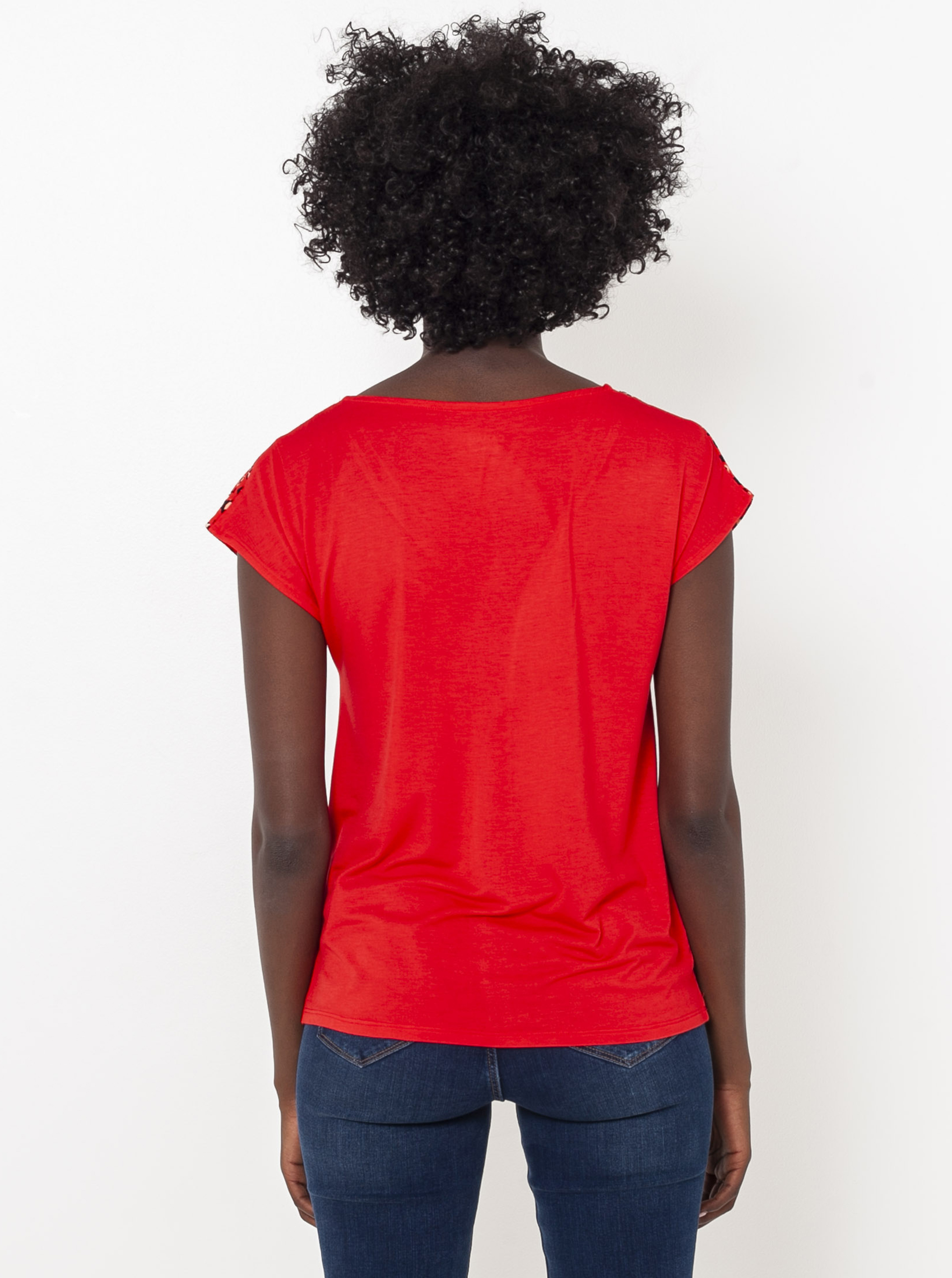 CAMAIEU rdeča majica z vzorcem