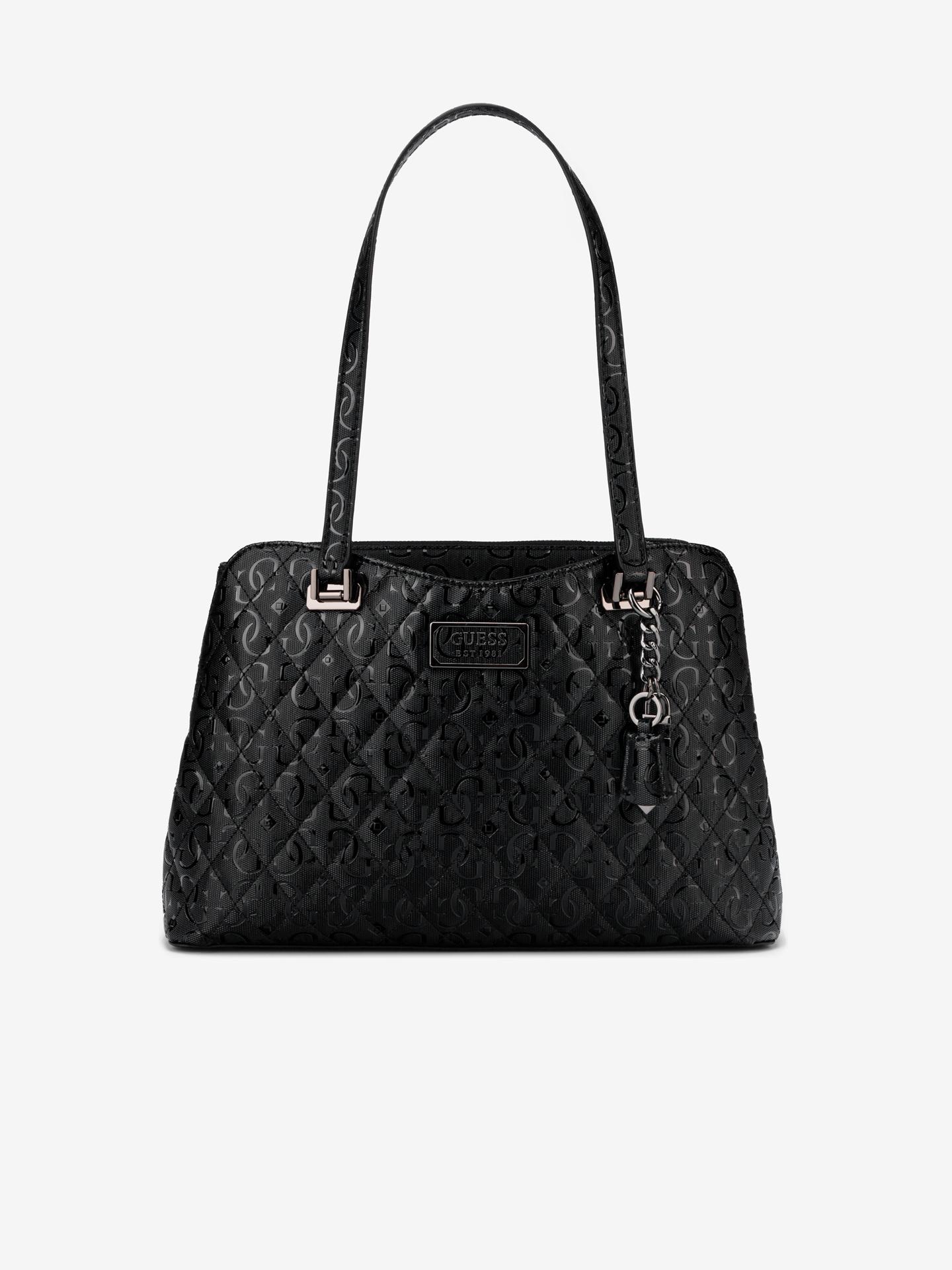 Guess črna torbica Lola Glossy Logo Maxi