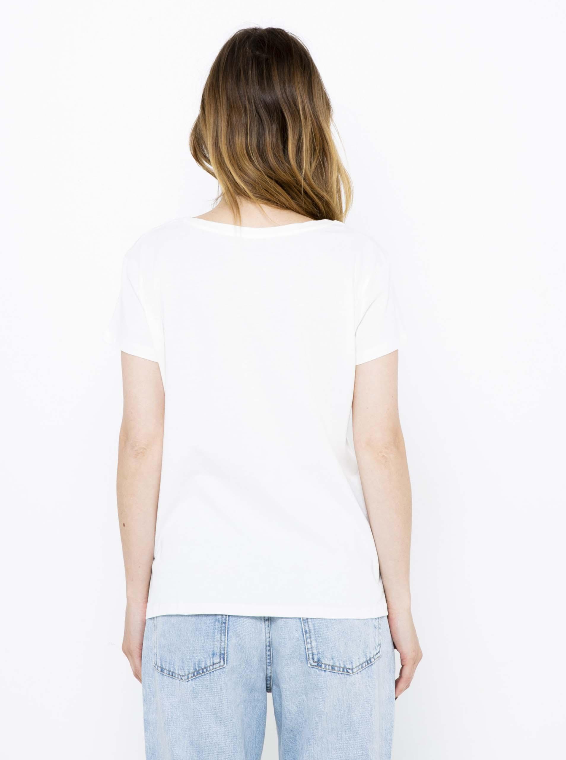 CAMAIEU bela majica z napisom