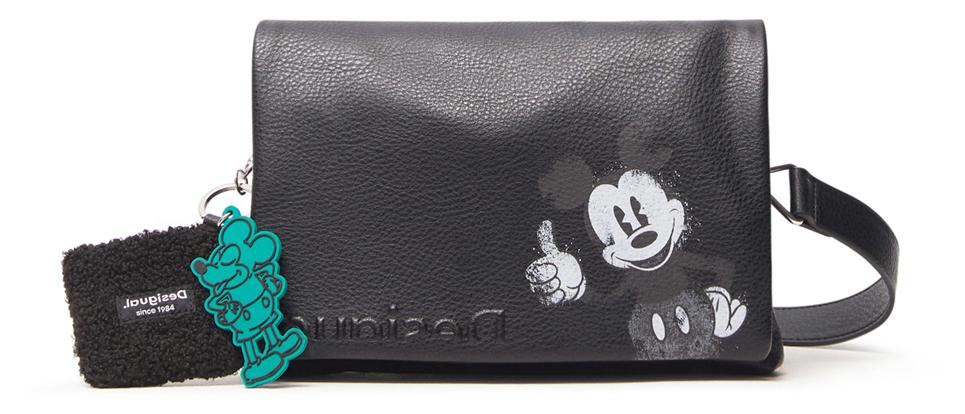 Desigual črna crossbody torbica Mickey Dortmund Flap