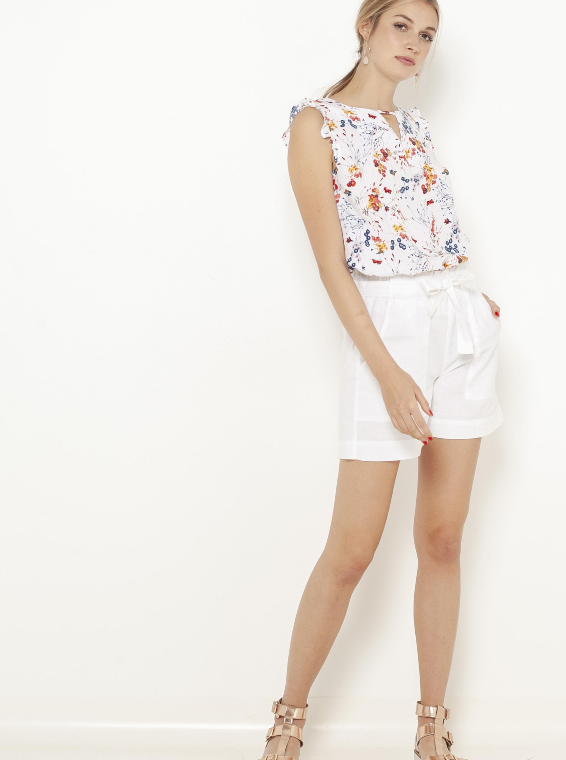 CAMAIEU bela bluza s cvetličnim motivom