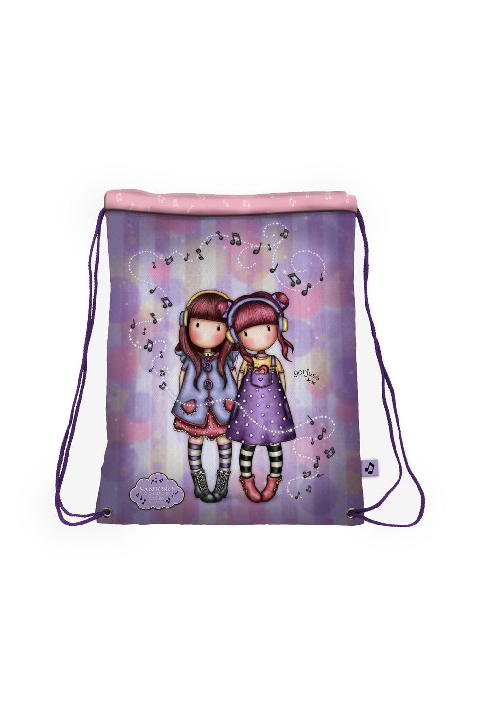 Santoro vijolična zatezna vrečka z vrvico Gorjuss The Duet