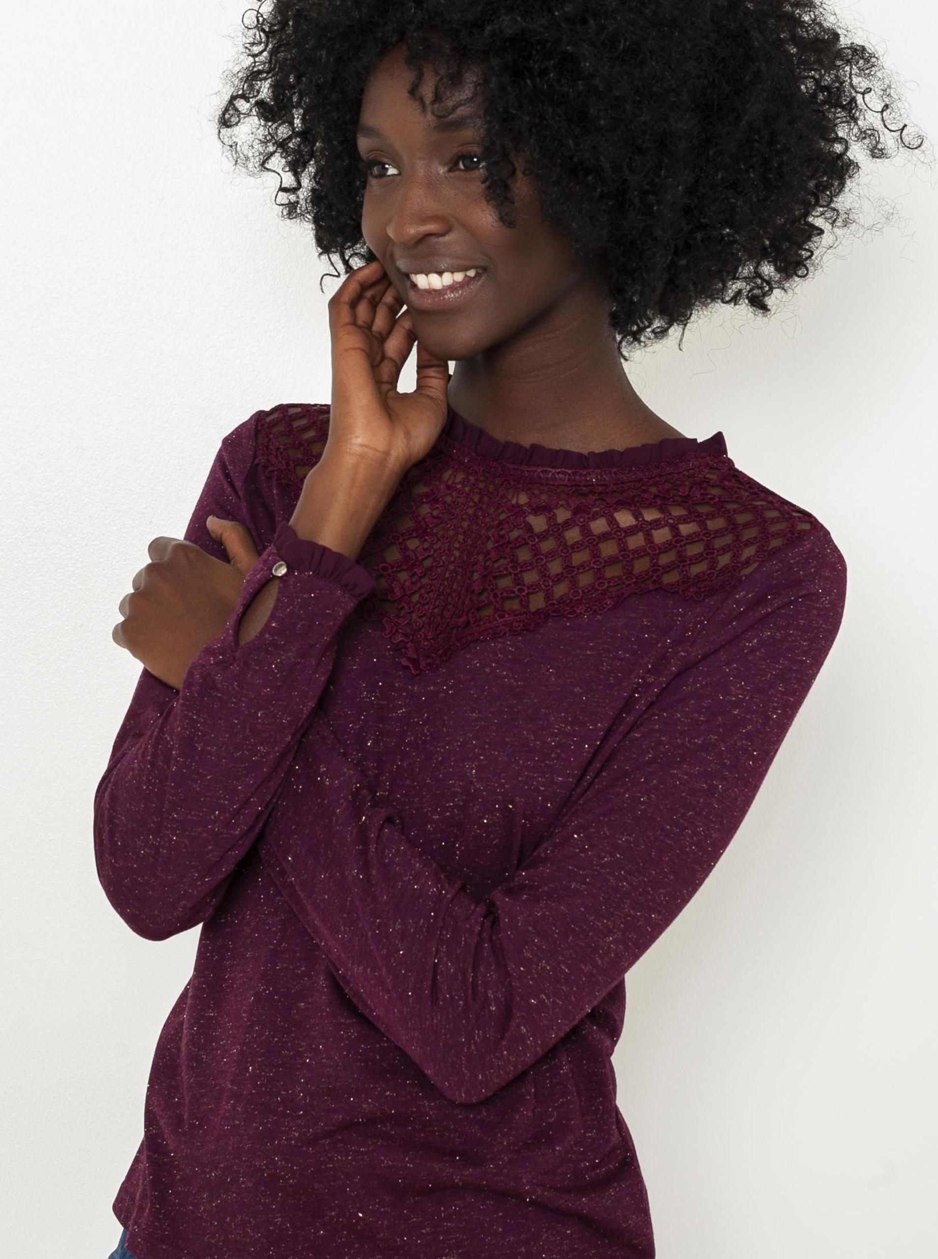 CAMAIEU Ženske majice vinsko rdeča