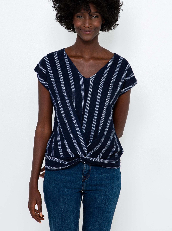 CAMAIEU modra črtasta majica
