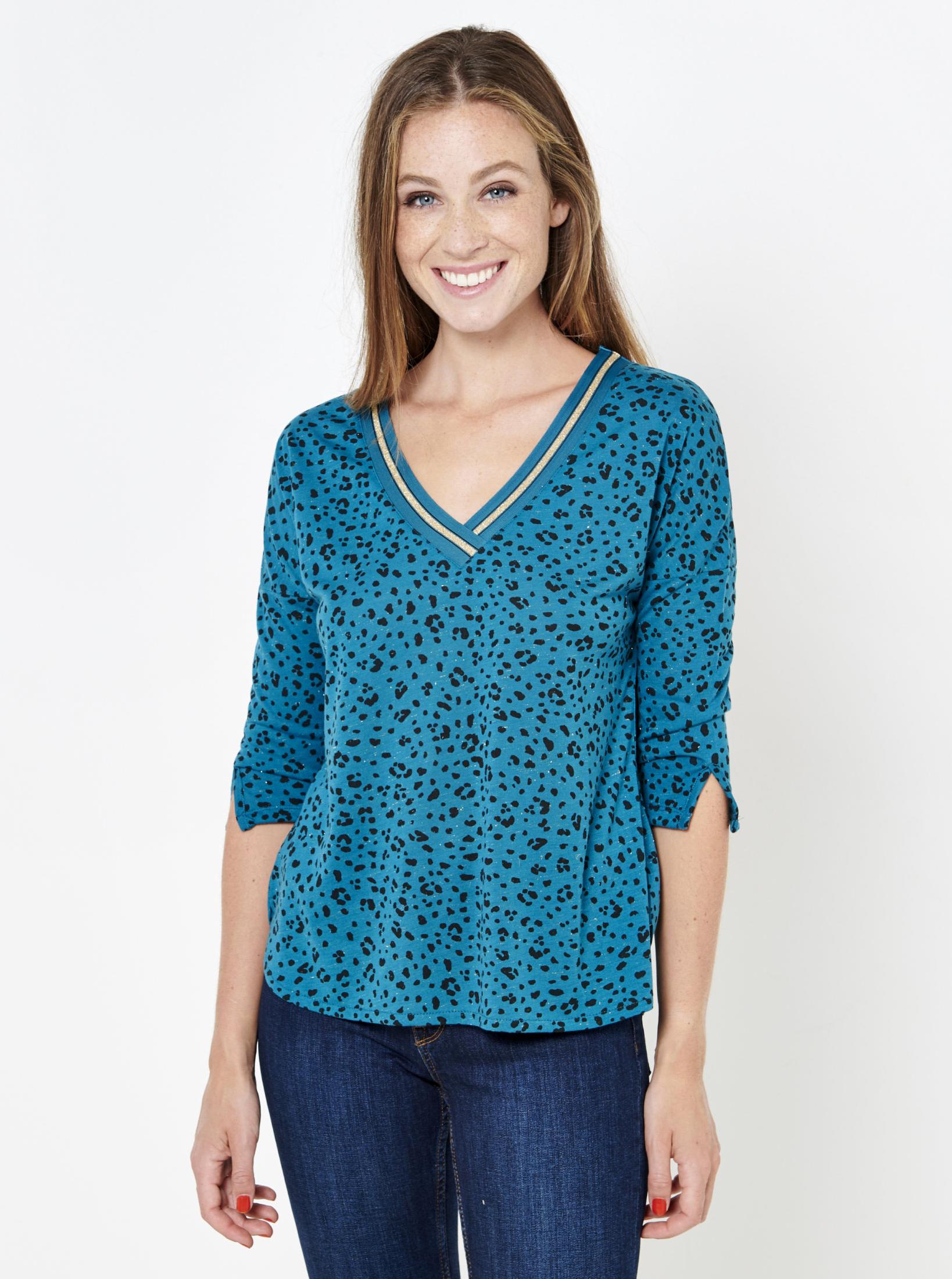 CAMAIEU modra majica z živalskim vzorcem