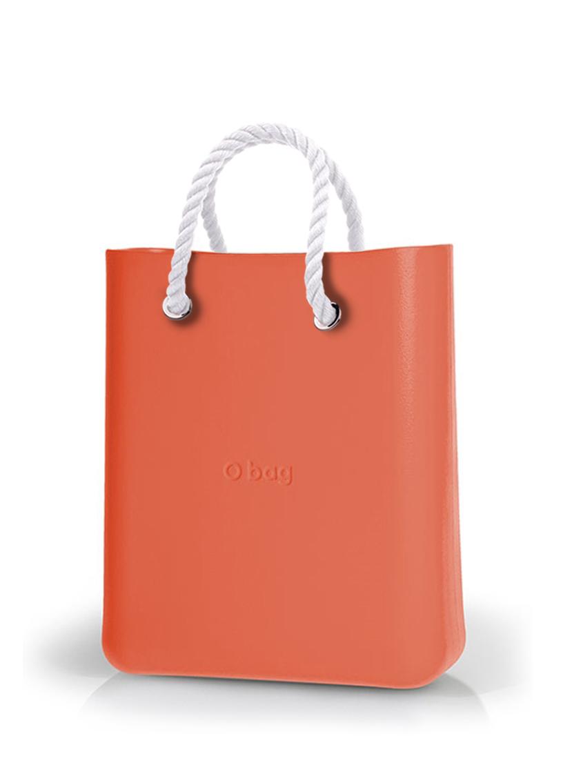 O bag  O Chic torbica Papaya z belimi kratkimi ročaji iz vrvi