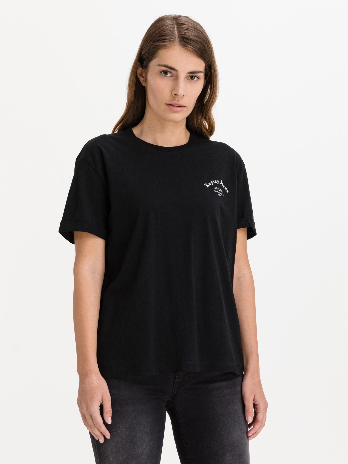 Replay Ženske majice črna Triko
