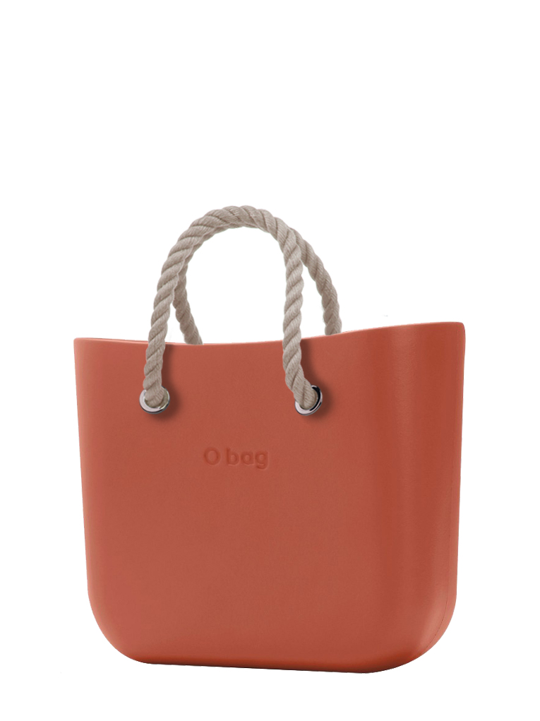 O bag  torbica Terracotta s kratkimi naravnimi ročaji iz vrvi