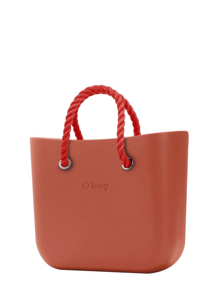 O bag  torbica Terracotta z rdečimi kratkimi ročaji iz vrvi