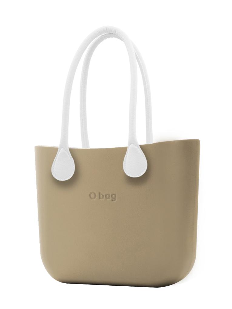 O bag  torbica Sabbia z belimi dolgimi usnjenimi ročaji