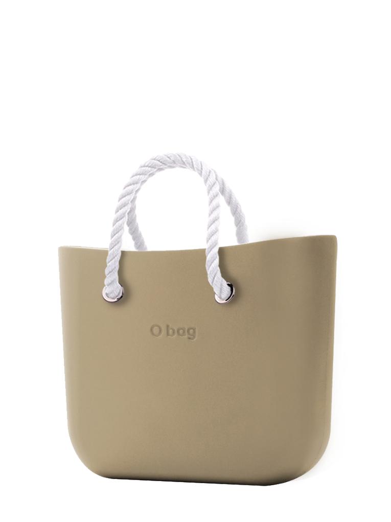 O bag  torbica Sabbia z belimi kratkimi ročaji iz vrvi