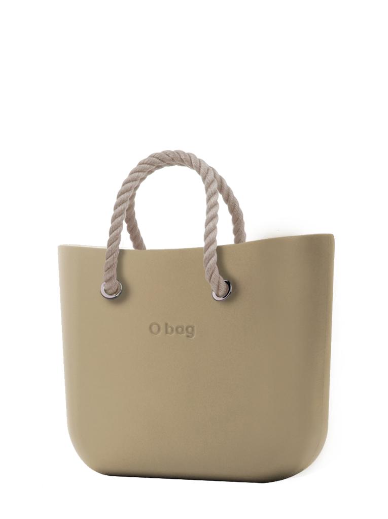 O bag  torbica Sabbia s kratkimi naravnimi ročaji iz vrvi