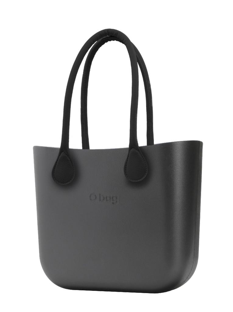 O bag  torbica MINI Grafite s črnimi dolgimi usnjenimi ročaji