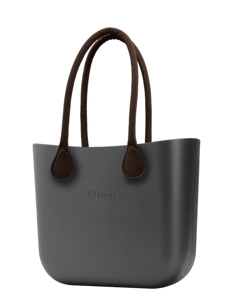 O bag  torbica MINI Grafite z rjavimi dolgimi usnjenimi ročaji