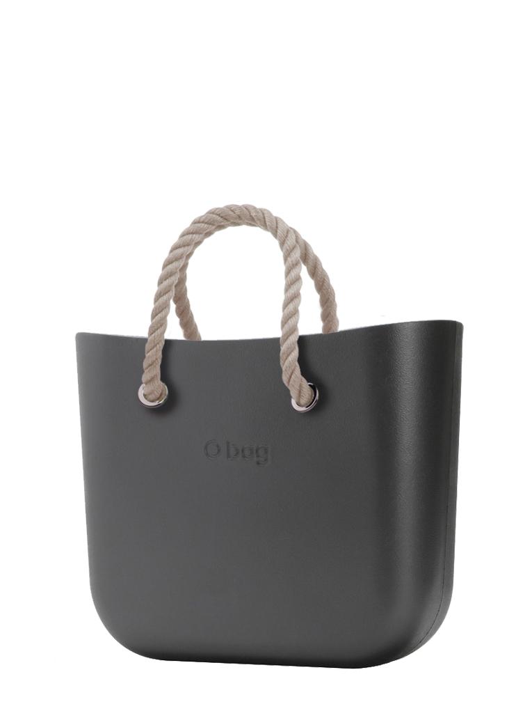 O bag  torbica MINI Grafite s kratkimi naravnimi ročaji iz vrvi