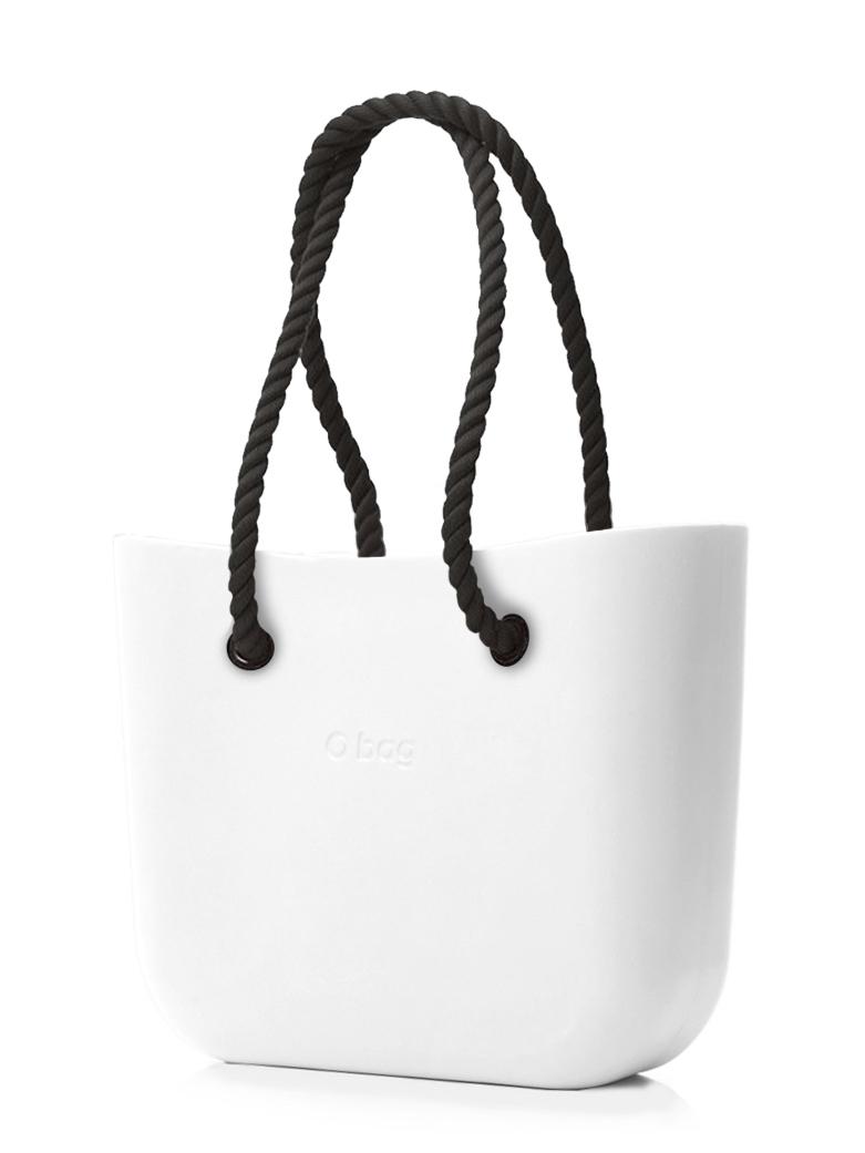 O bag  bela MINI torbica Bianco s črnimi dolgimi ročaji iz vrvi