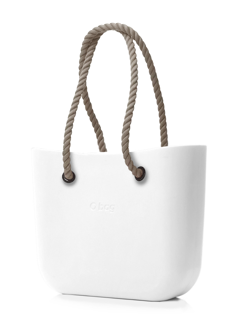 O bag  bela torbica MINI Bianco z dolgimi naravnimi ročaji iz vrvi