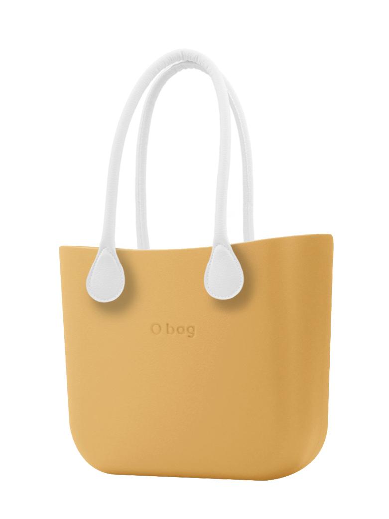 O bag  torbica Caramello z belimi dolgimi usnjenimi ročaji