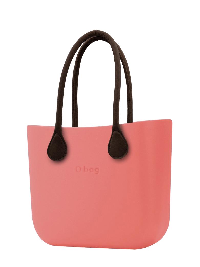 O bag  torbica MINI Corallo z rjavimi dolgimi usnjenimi ročaji