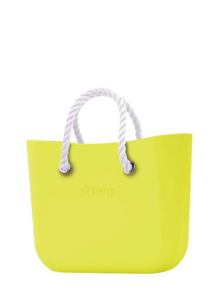 O bag  torbica Lime z belimi kratkimi ročaji iz vrvi