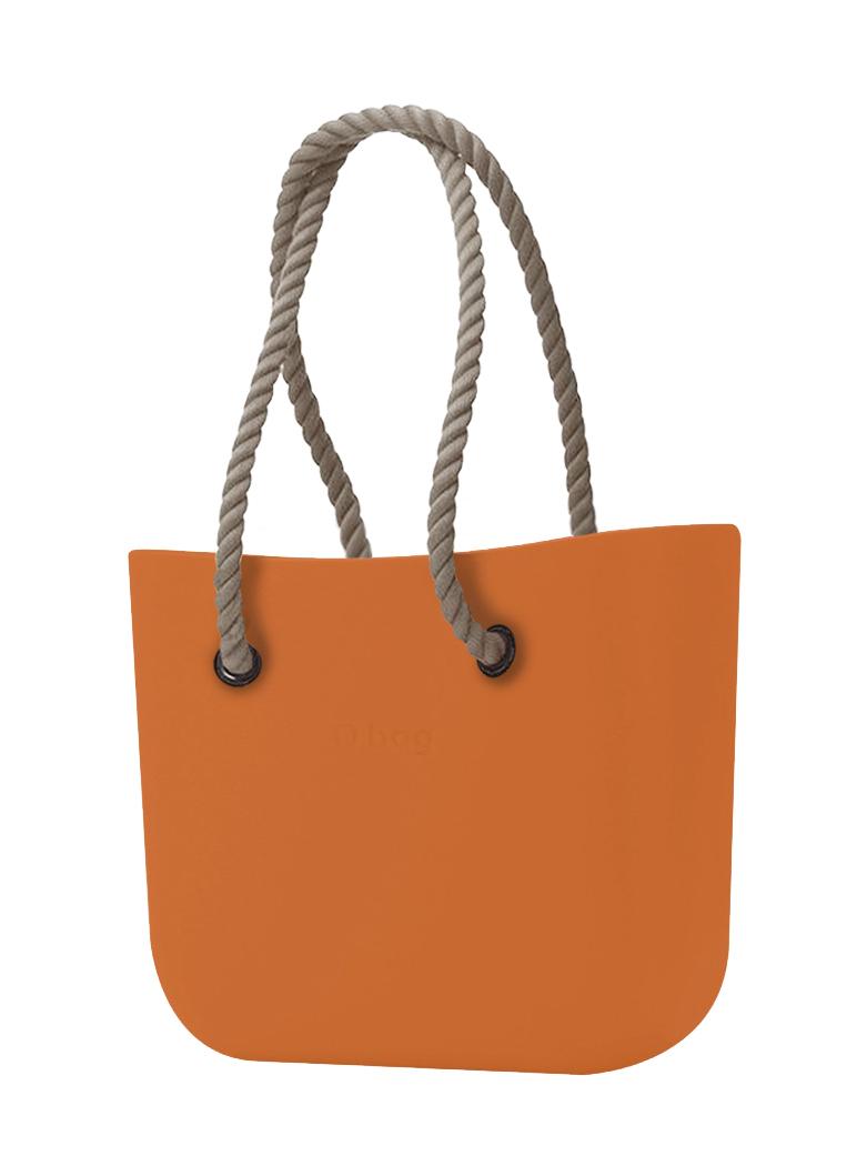 O bag  oranžna torbica Mattone z dolgimi naravnimi ročaji iz vrvi