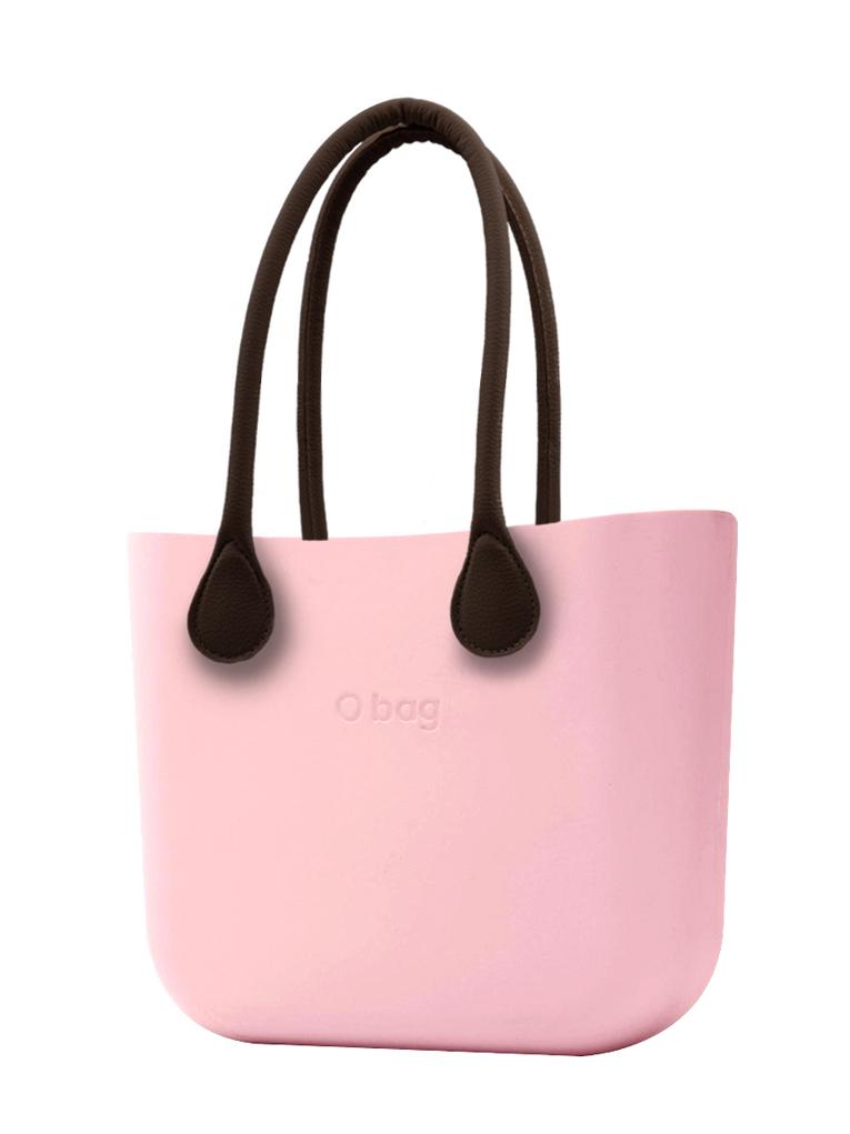 O bag  torbica Cipria z rjavimi dolgimi usnjenimi ročaji