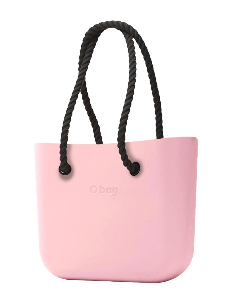 O bag  torbica Cipria s črnimi dolgimi ročaji iz vrvi