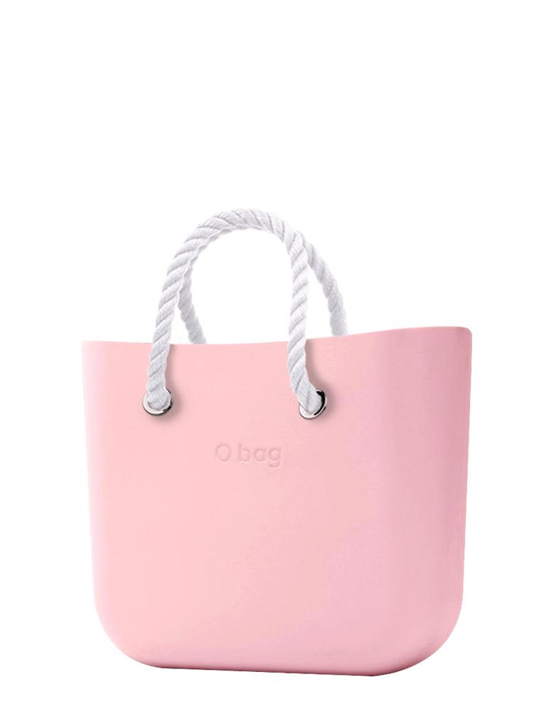 O bag  torbica Cipria z belimi kratkimi ročaji iz vrvi