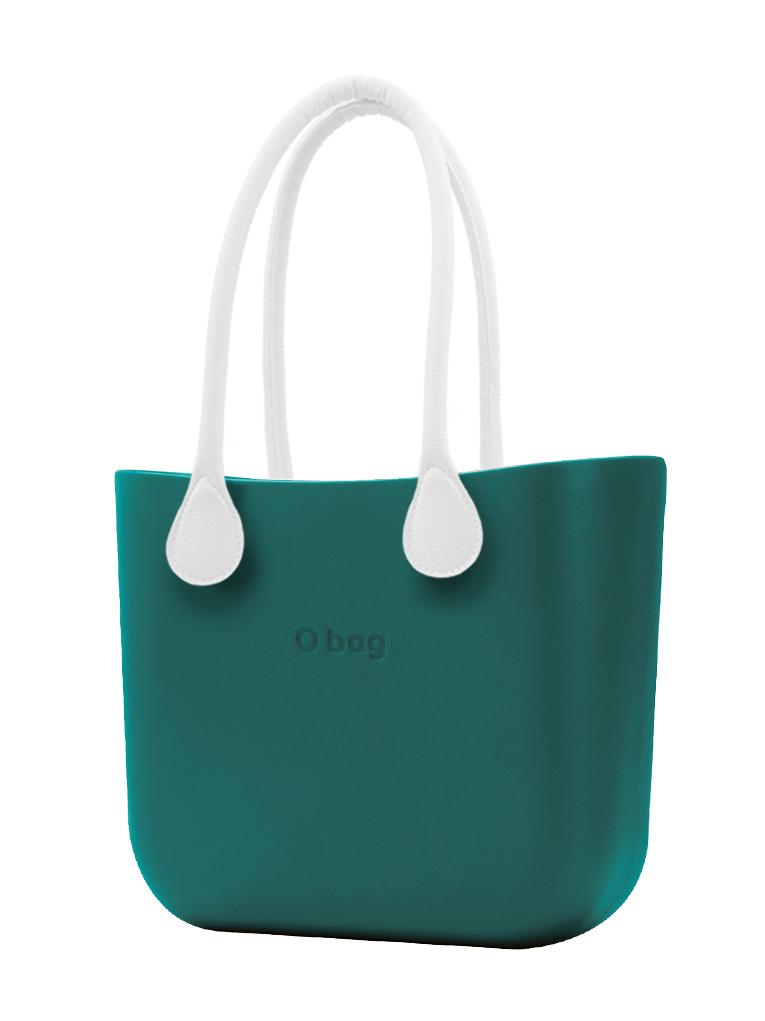 O bag  MINI torbica Petrolio z belimi dolgimi usnjenimi ročaji