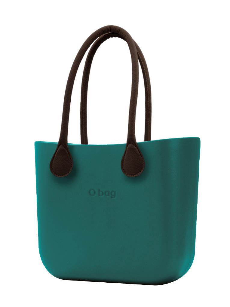 O bag  torbica MINI Petrolio z rjavimi dolgimi usnjenimi ročaji