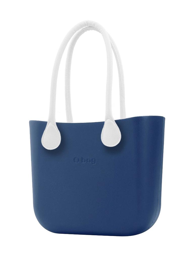 O bag  modra MINI torbica Bluette z belimi dolgimi usnjenimi ročaji