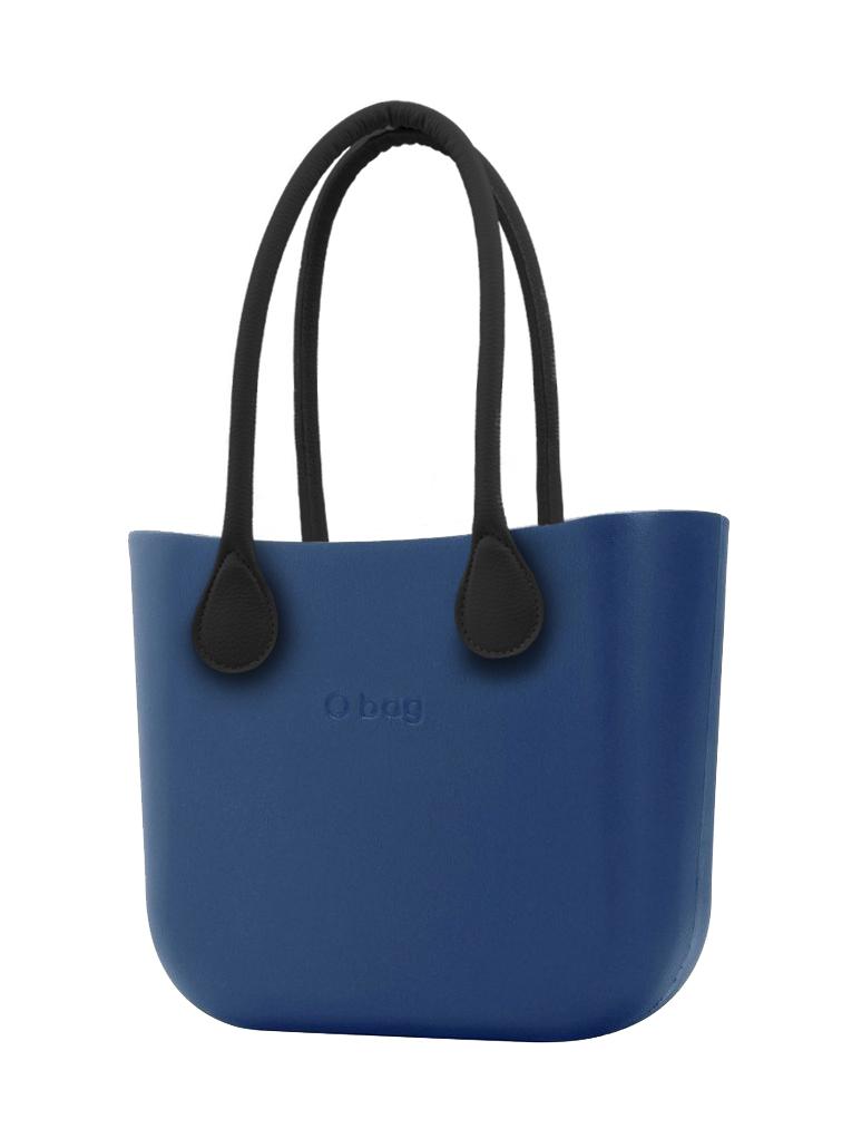 O bag  modra torbica MINI Bluette s črnimi dolgimi usnjenimi ročaji