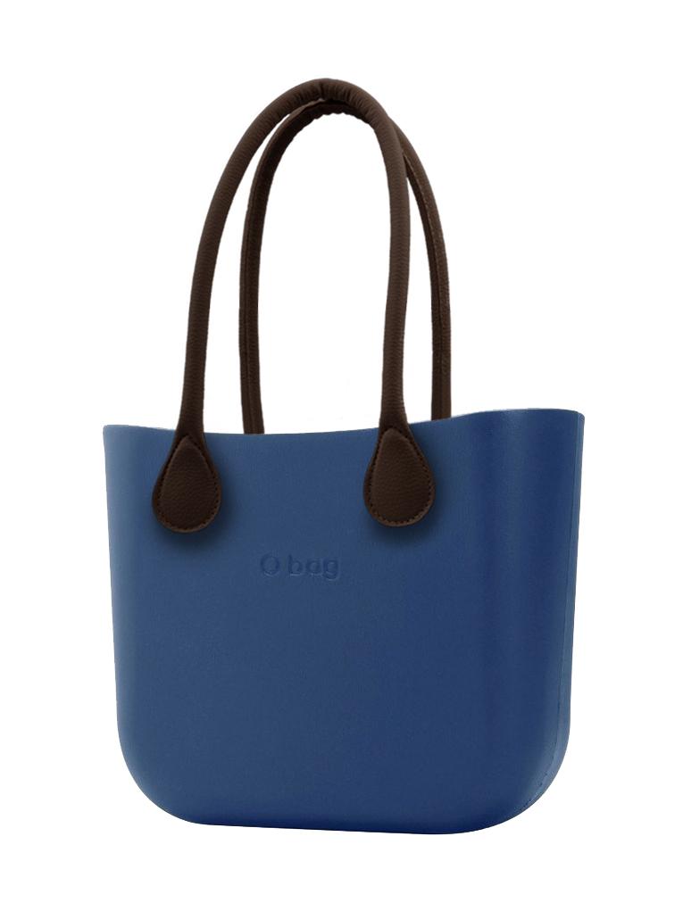 O bag  modra MINI torbica Bluette z rjavimi dolgimi usnjenimi ročaji