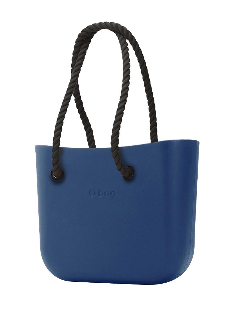 O bag  modra torbica MINI Bluette s črnimi dolgimi ročaji iz vrvi
