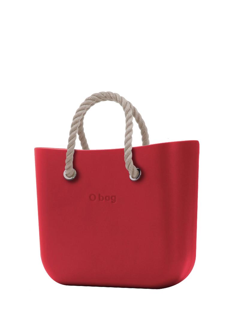O bag  torbica Rosso s kratkimi naravnimi ročaji iz vrvi