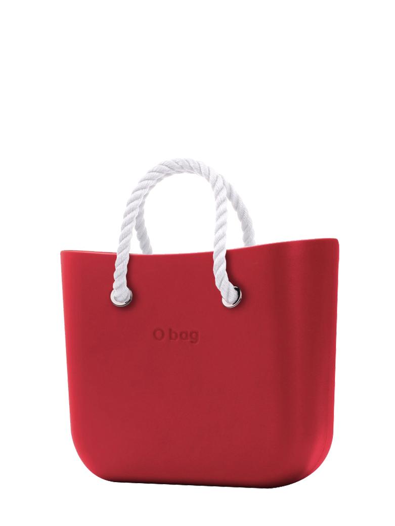 O bag  torbica Rosso z belimi kratkimi ročaji iz vrvi