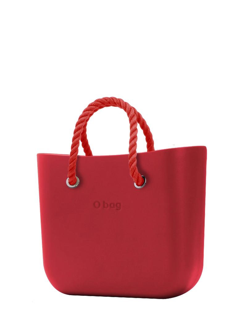 O bag  torbica Rosso z rdečimi kratkimi ročaji iz vrvi