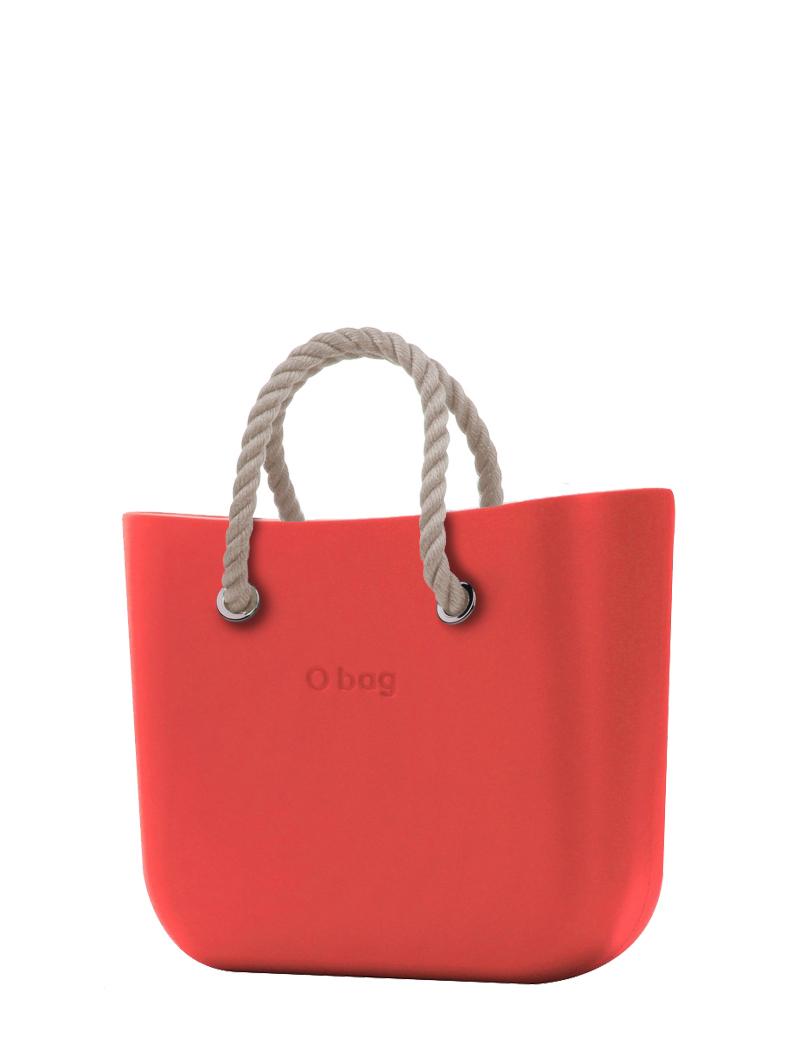O bag  torbica Fragola s kratkimi naravnimi ročaji iz vrvi