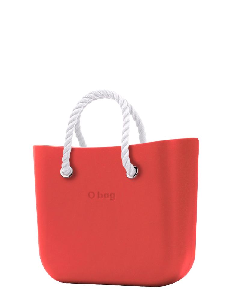 O bag  torbica Fragola z belimi kratkimi ročaji iz vrvi