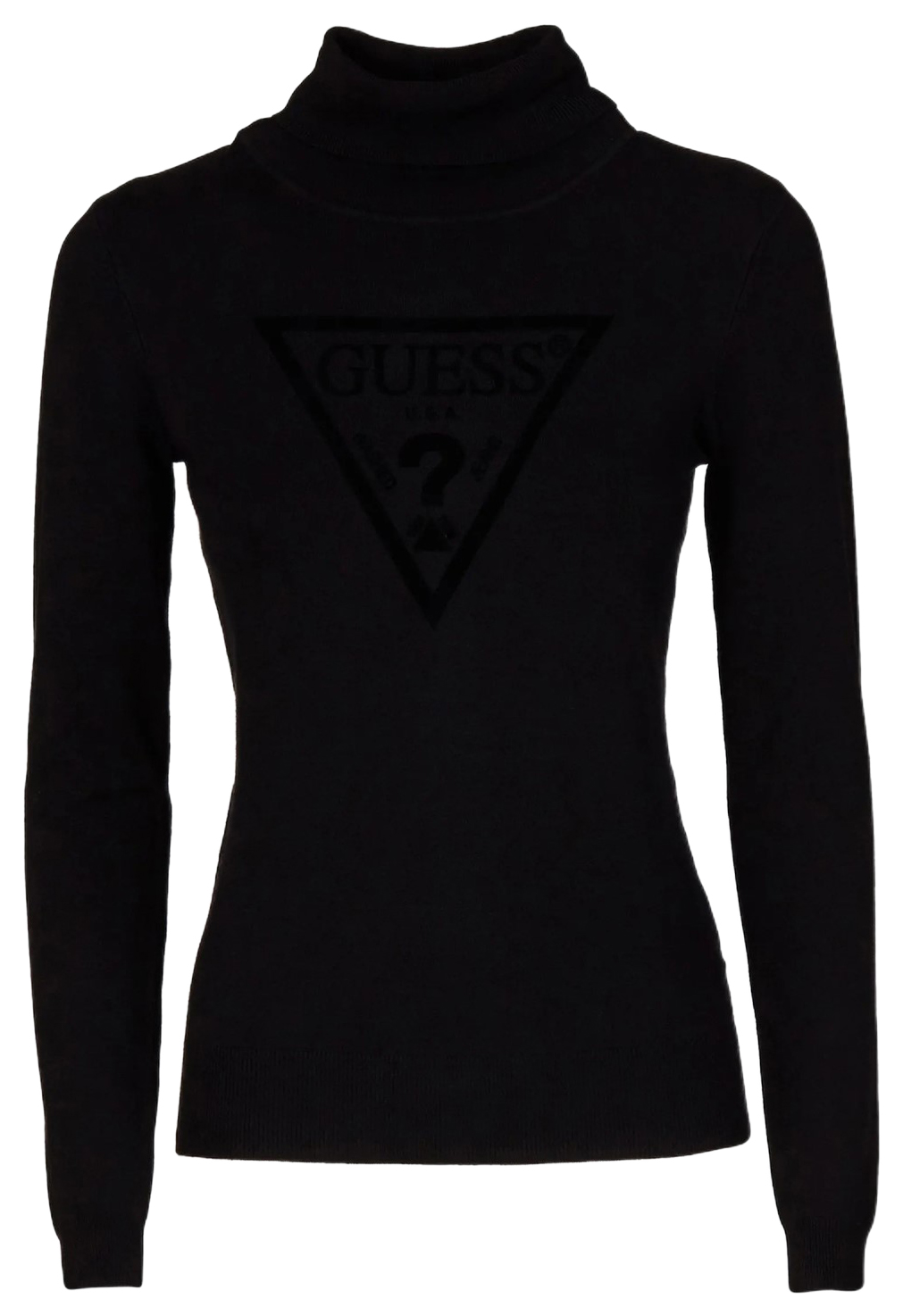 Guess črn pulover puli High-Neck Logo Triangle