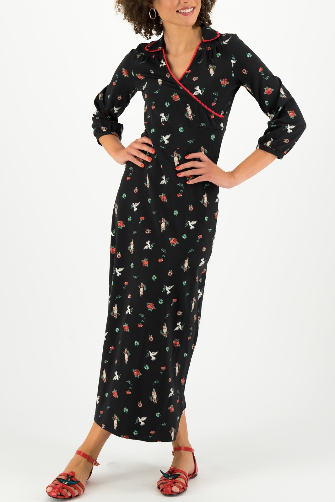 Blutsgeschwister črna maxi obleka The Beauty of Freedom Robe Scout Vow