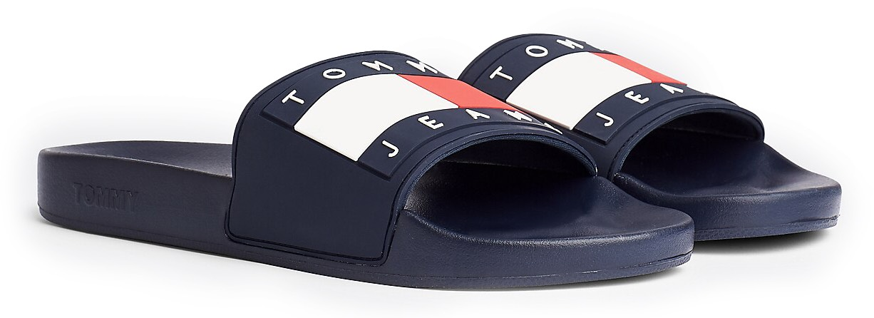 Tommy Hilfiger temno modri natikači Tommy Jeans Flag Pool Slide Twilight Navy