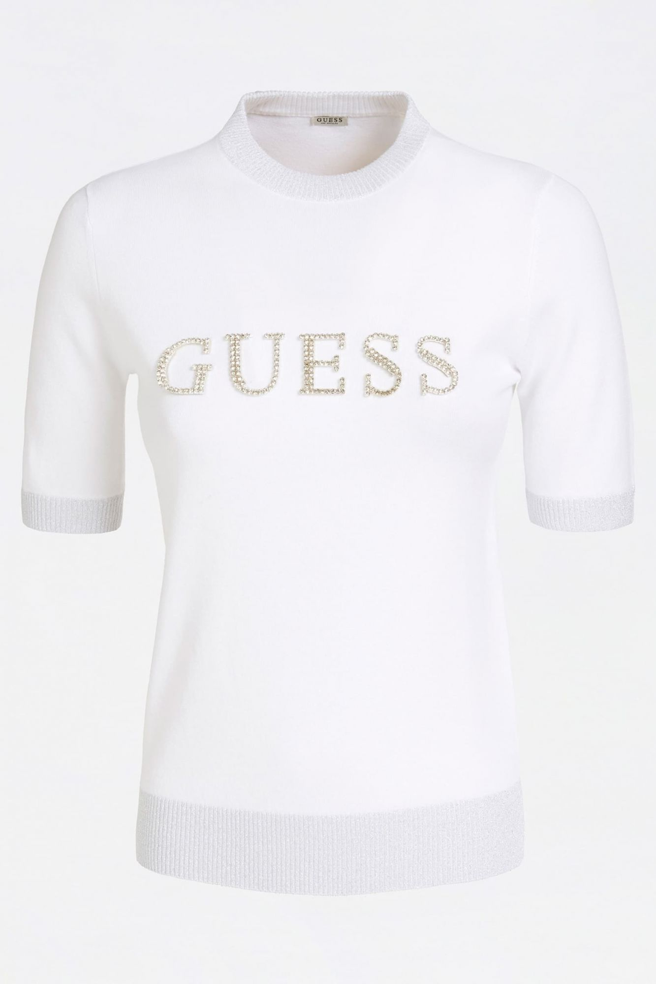 Guess bela pulover Jewel Sweater