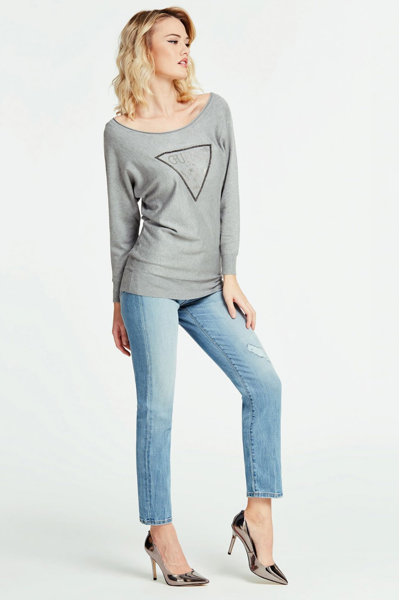 Guess siv pulover Jewel Sweater