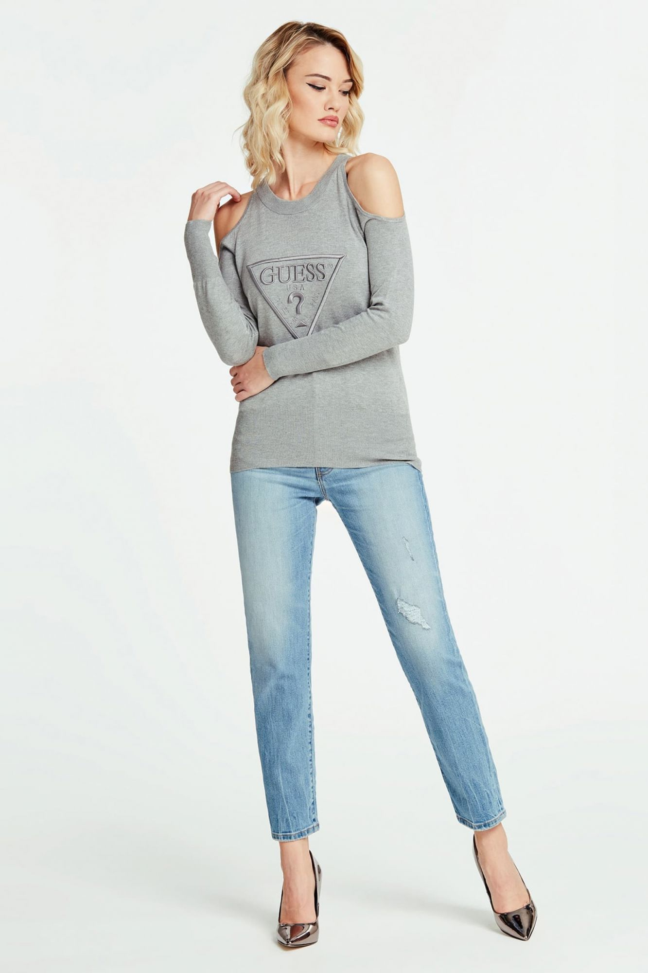 Guess siva pulover Jewel Sweater