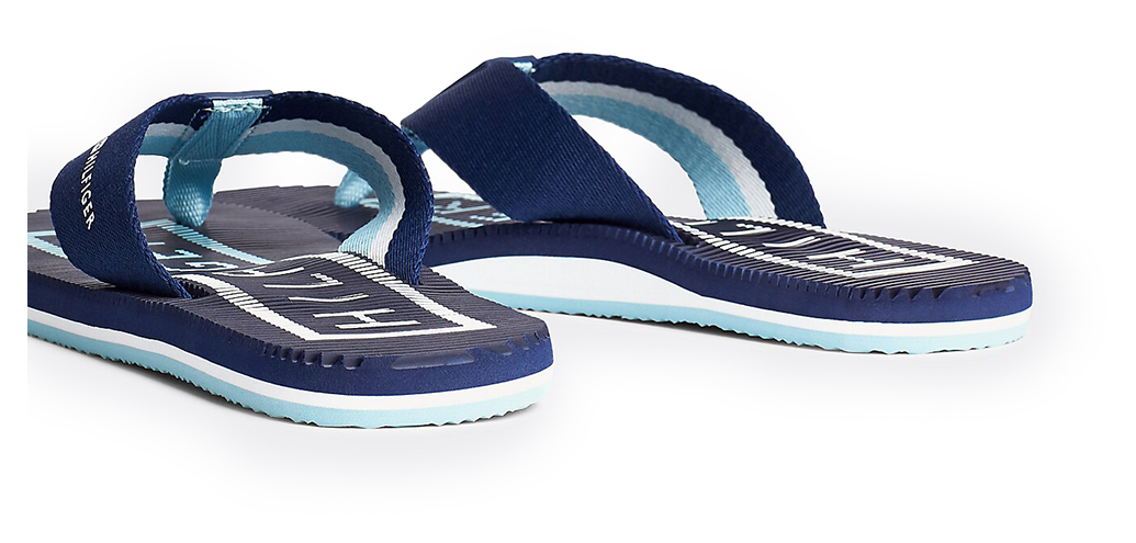 Tommy Hilfiger modra moški japonke Massage Footbed TH Beach Sandal