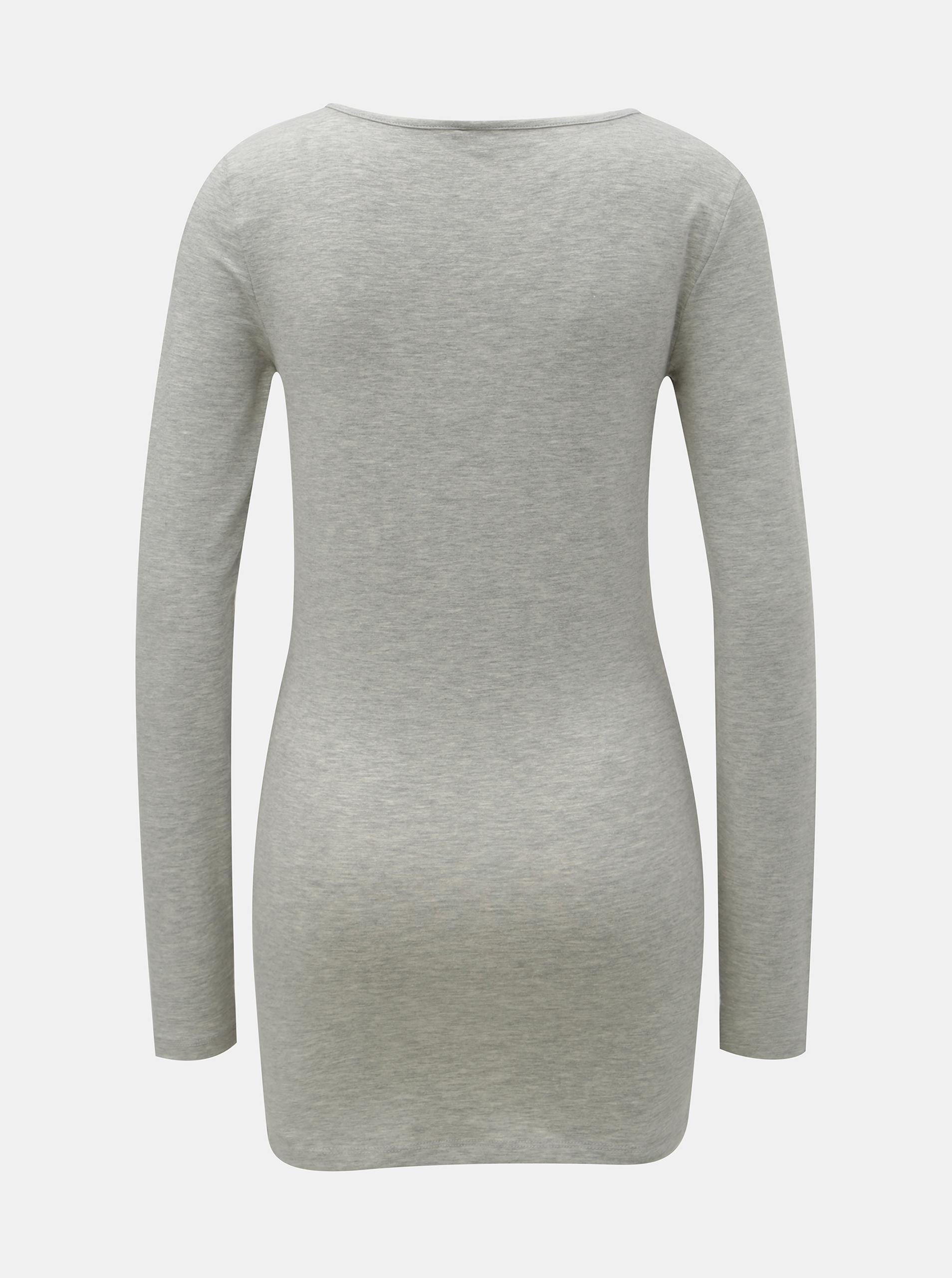 Siva svinčna osnovna majica z dolgimi rokavi VERO MODA Maxi