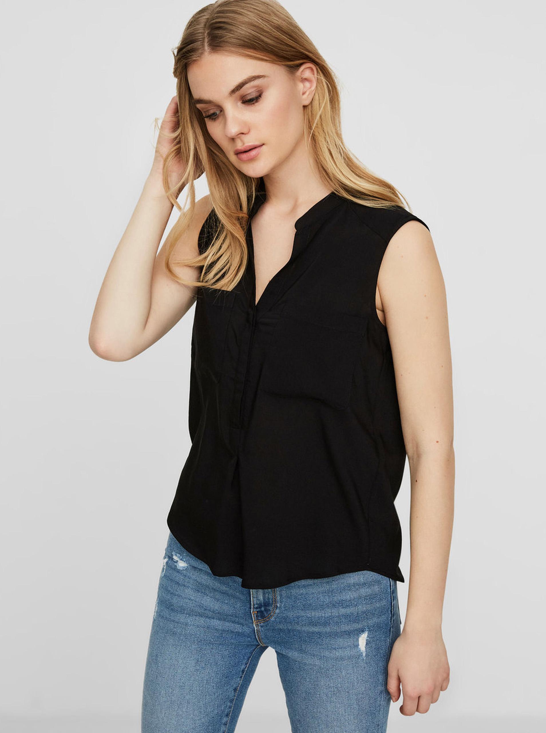 Črna prosojna bluza brez rokavov VERO MODA Erika